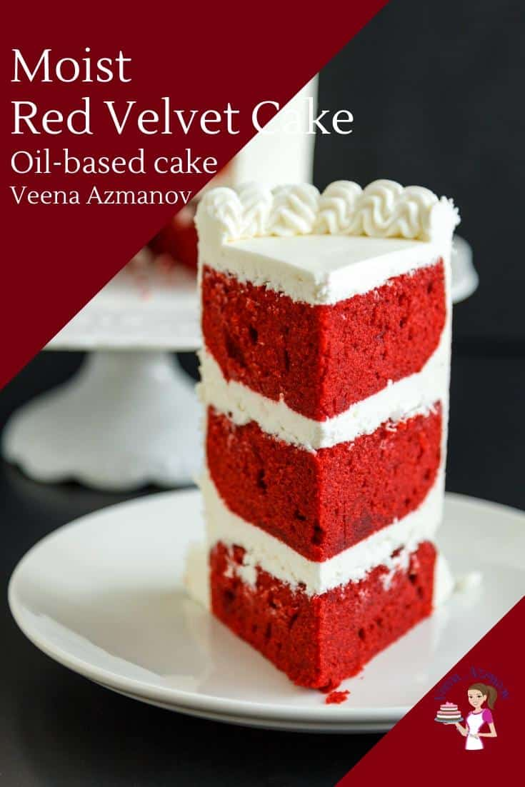 This rich, moist red velvet cake has a hint of cocoa and deep rich red color. An oil-based cake baked from scratch using buttermilk with baking soda which creates a reaction making it extra light and airy. A simple and easy recipe frosted with a light and fluffy cream cheese frosting. #redvelvetcake #cakerecipe #redvelvetcakerecipe #cake via @Veenaazmanov