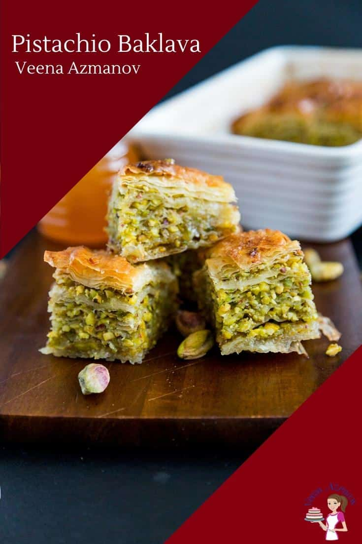 Homemade Baklava with Pistachio nuts