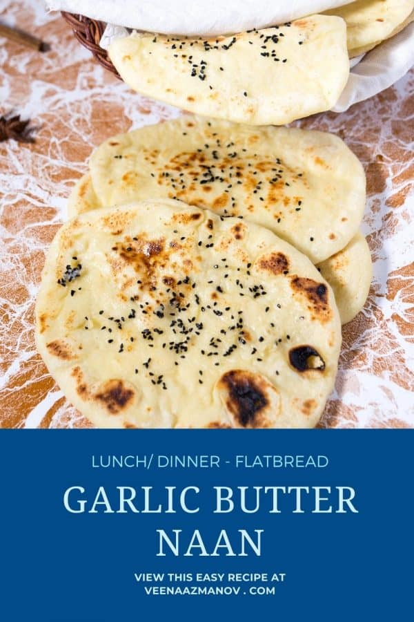 Pinterest image for homemade naan with garlic butter.