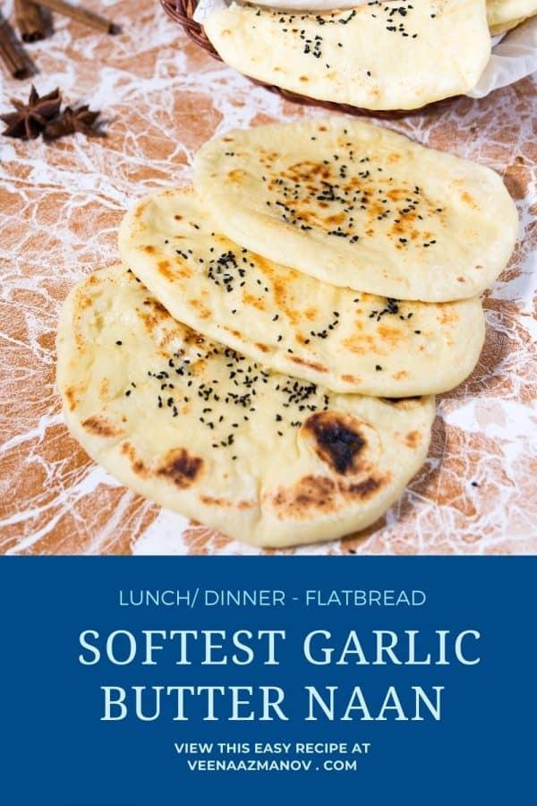 Pinterest image for garlic butter naan.