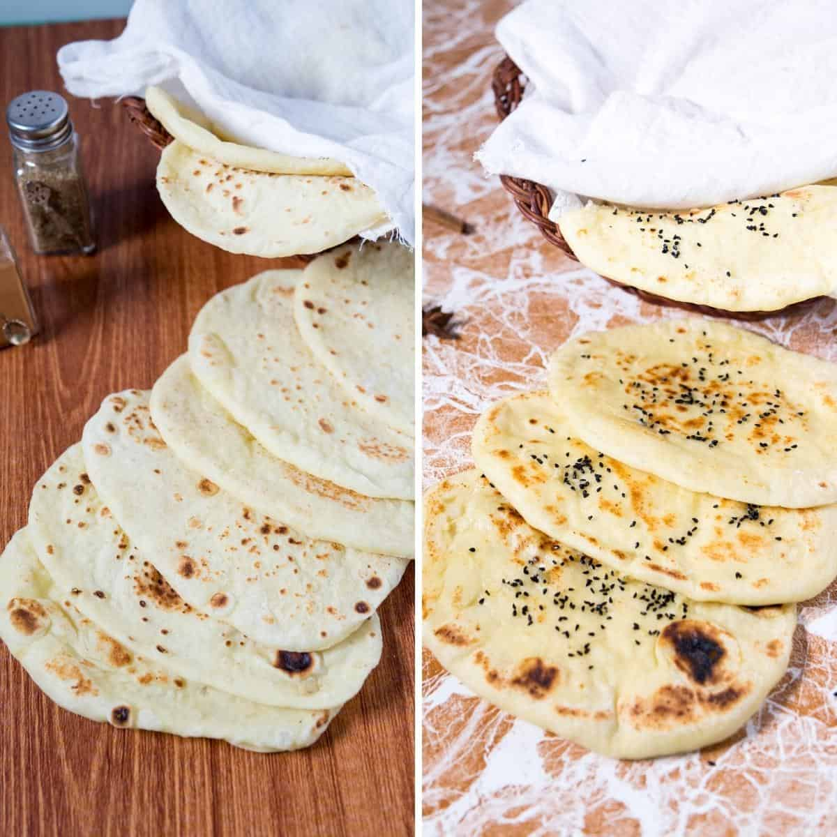 Classic and butter naan on a table.