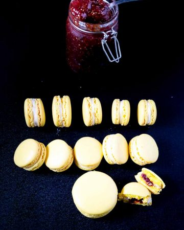 Lemon macarons on a table.