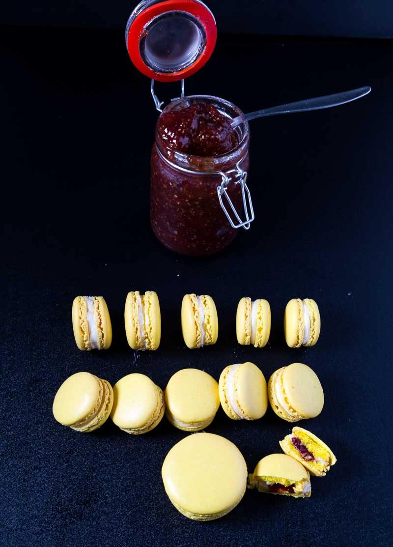 A Pinterest Optimized image for my favorite strawberry lemon French macrons made using my no-fail macarons recipe