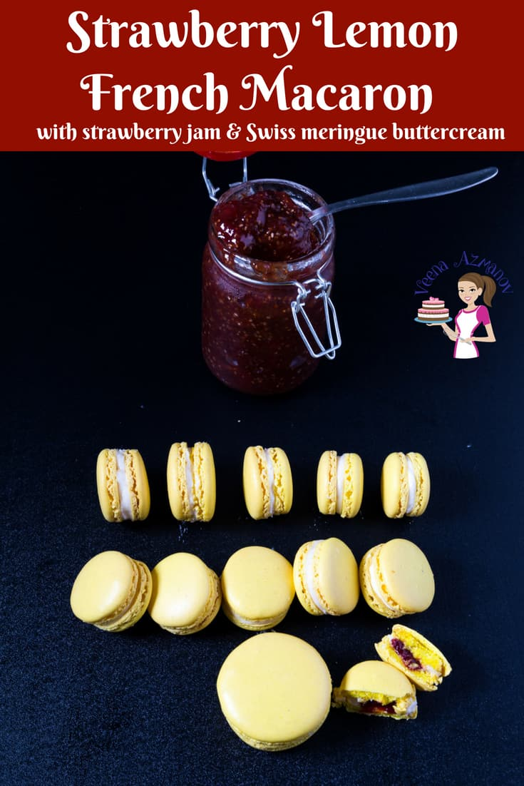 A Pinterest Optimized image for strawberry lemon French macarons made using my no-fail macaron reicpe