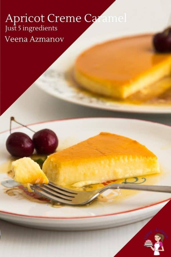 This easy custard dessert flan or creme caramel is made with apricots