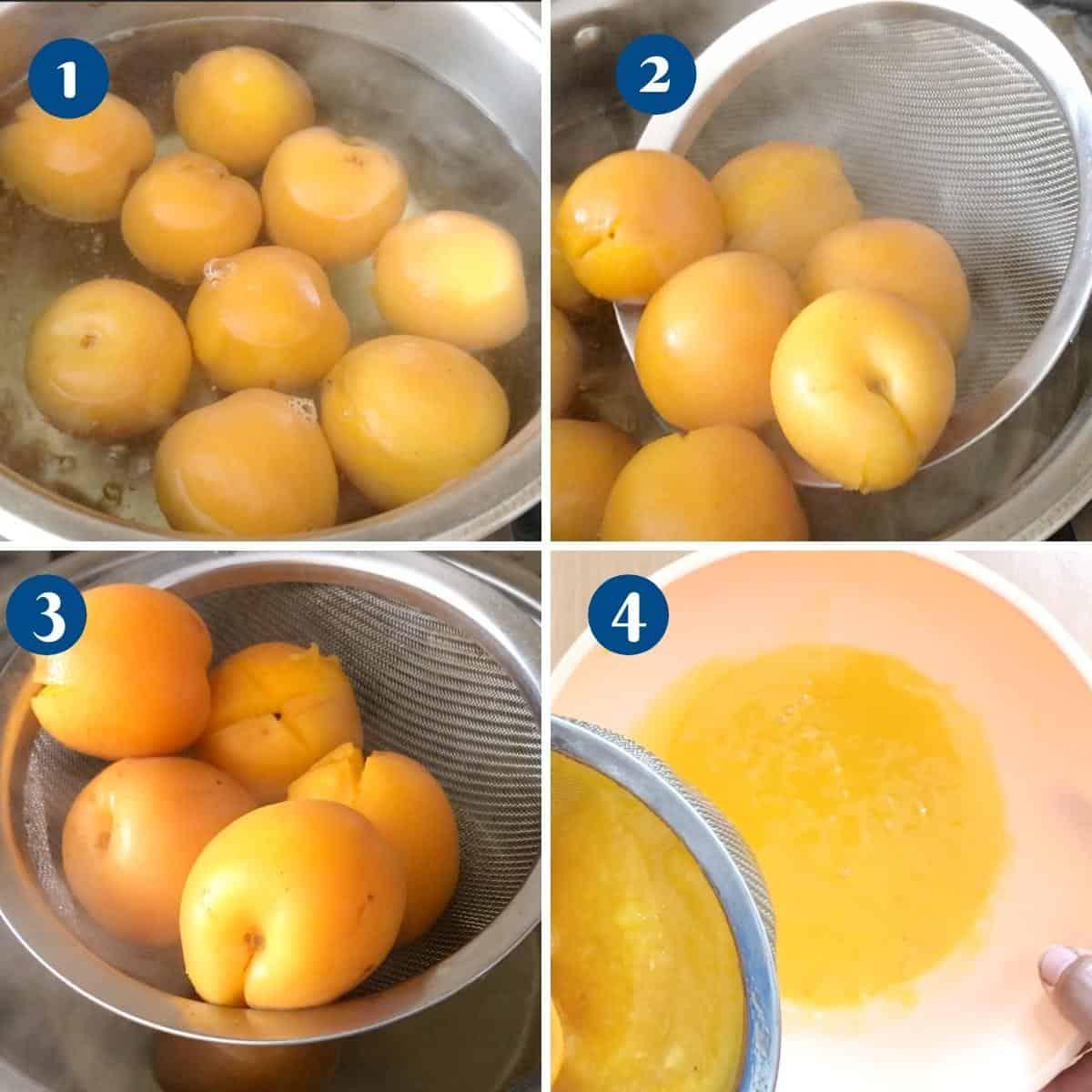 Progress pictures poaching apricots.