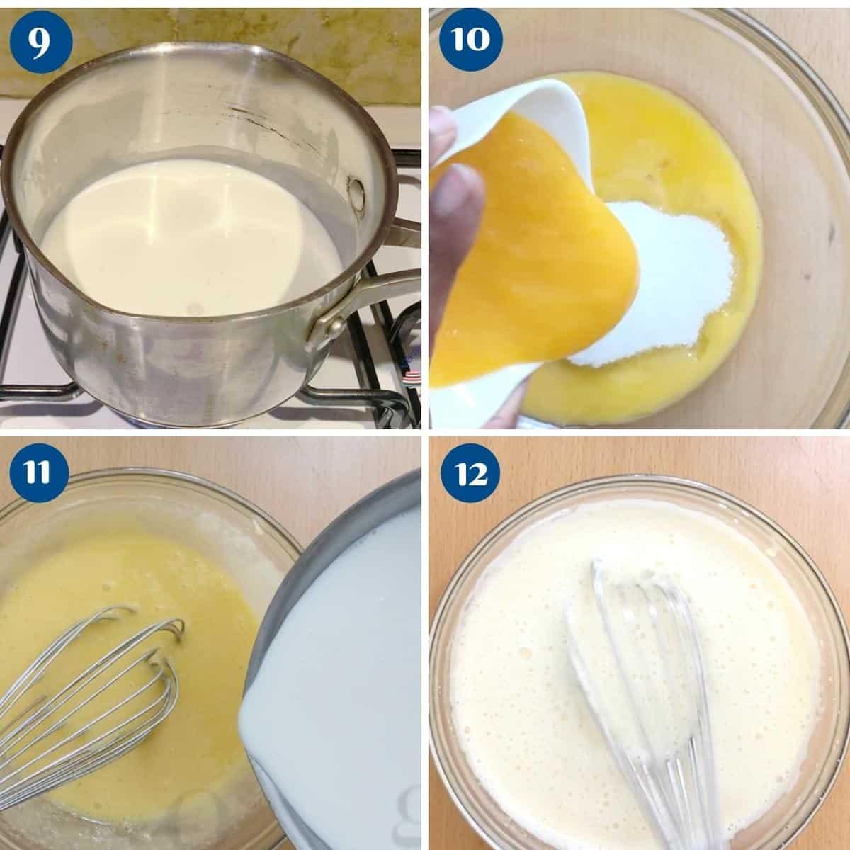 Progress pictures making custard base for flan.
