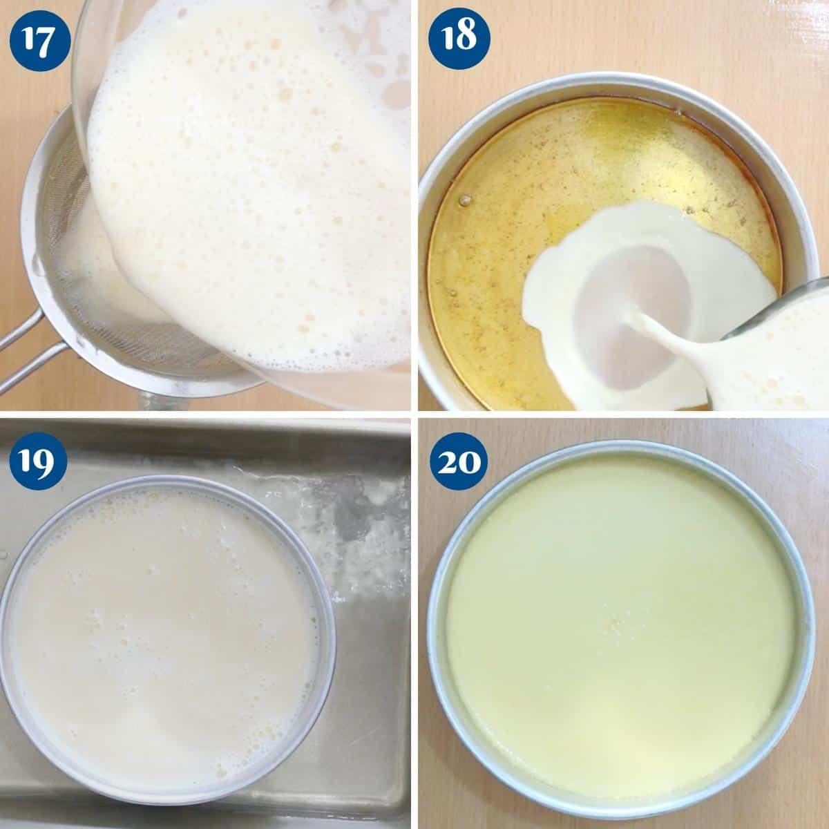 Progress pictures baking flan in water bath.
