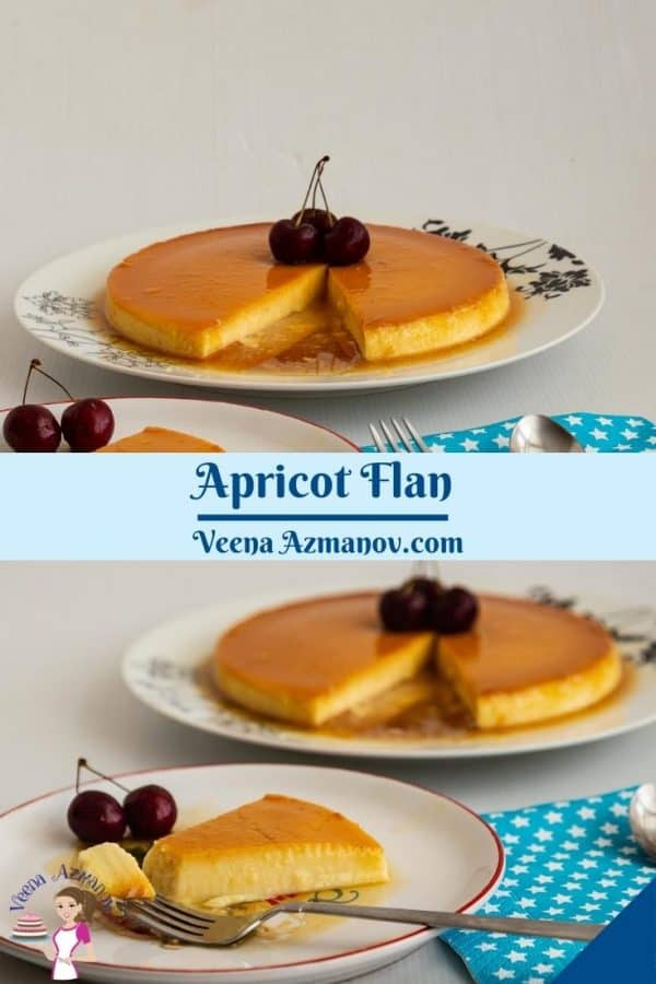 Pinterest image flan with apricots.
