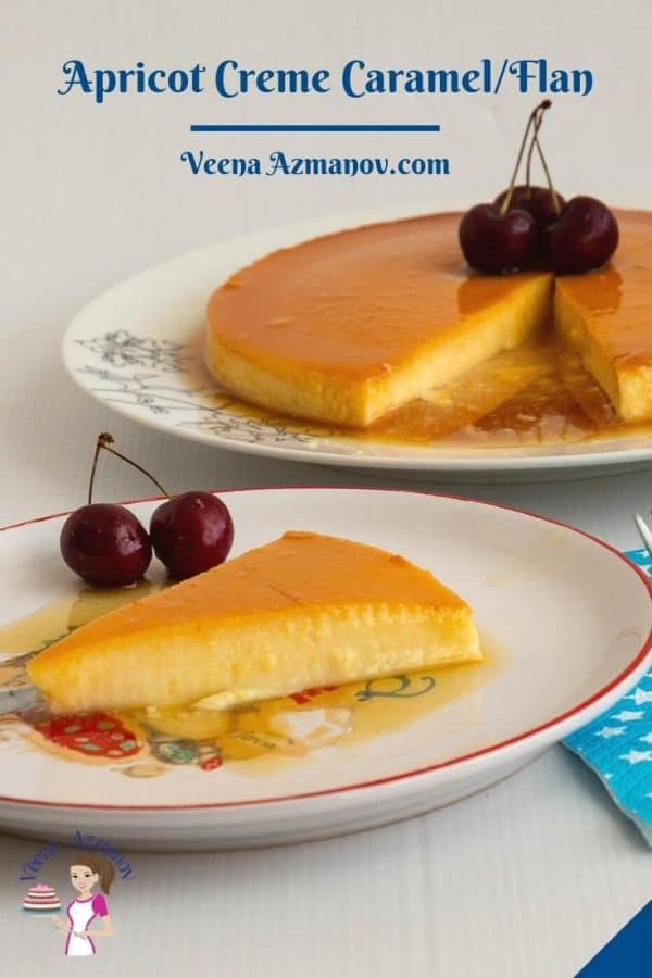 Pinterest image for creme caramel flan with apricots.