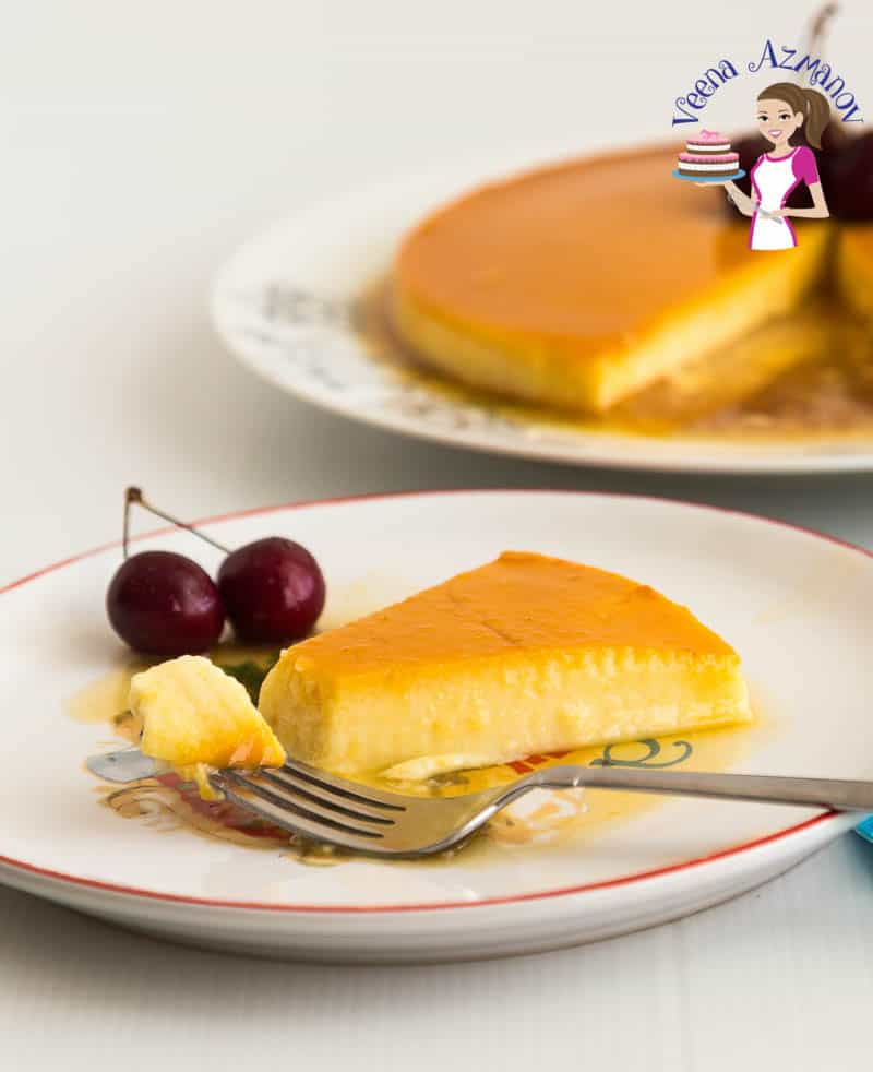 An image optimized of social sharing for this apricot flan recipe aka called creme caramel which is a custard based dessert baked with caramel
