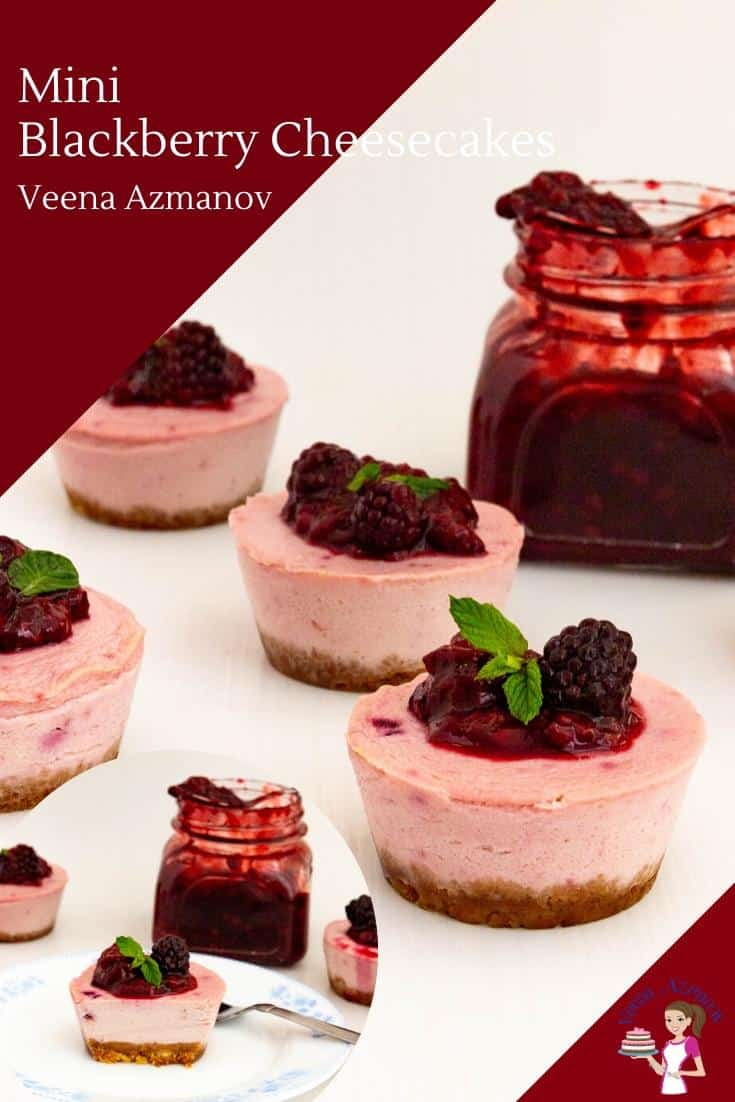 Mini cheesecakes are pretty and convenient. These mini blackberry cheesecakes are baked custard-based cheesecake batter in blackberry pink, then topped with delicious blackberry filling. #cheesecake #blackberry #minicheesecakes #minicakes #minidesserts #cheesecakerecipes #miniblackberrycheesecake via @Veenaazmanov