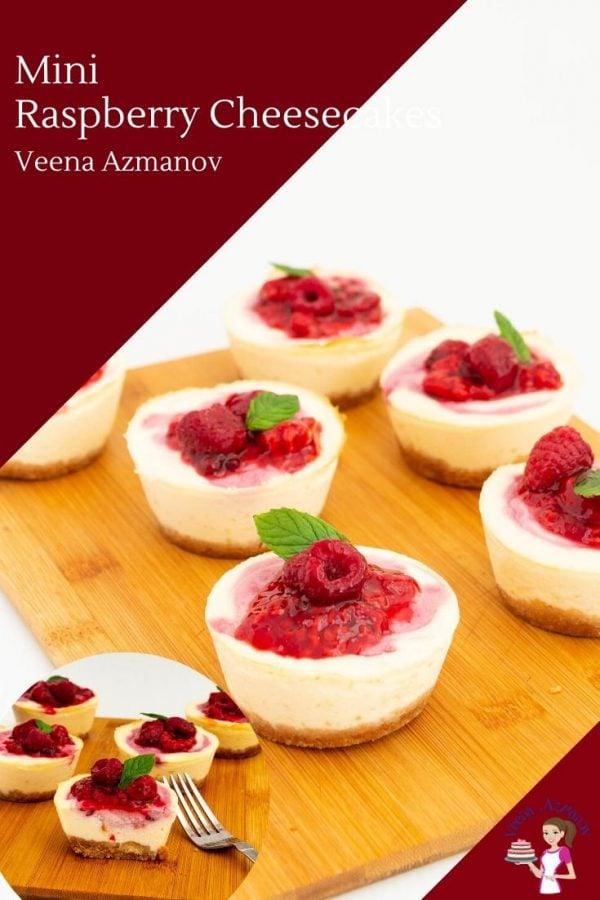 Mini raspberry cheesecakes on a table.