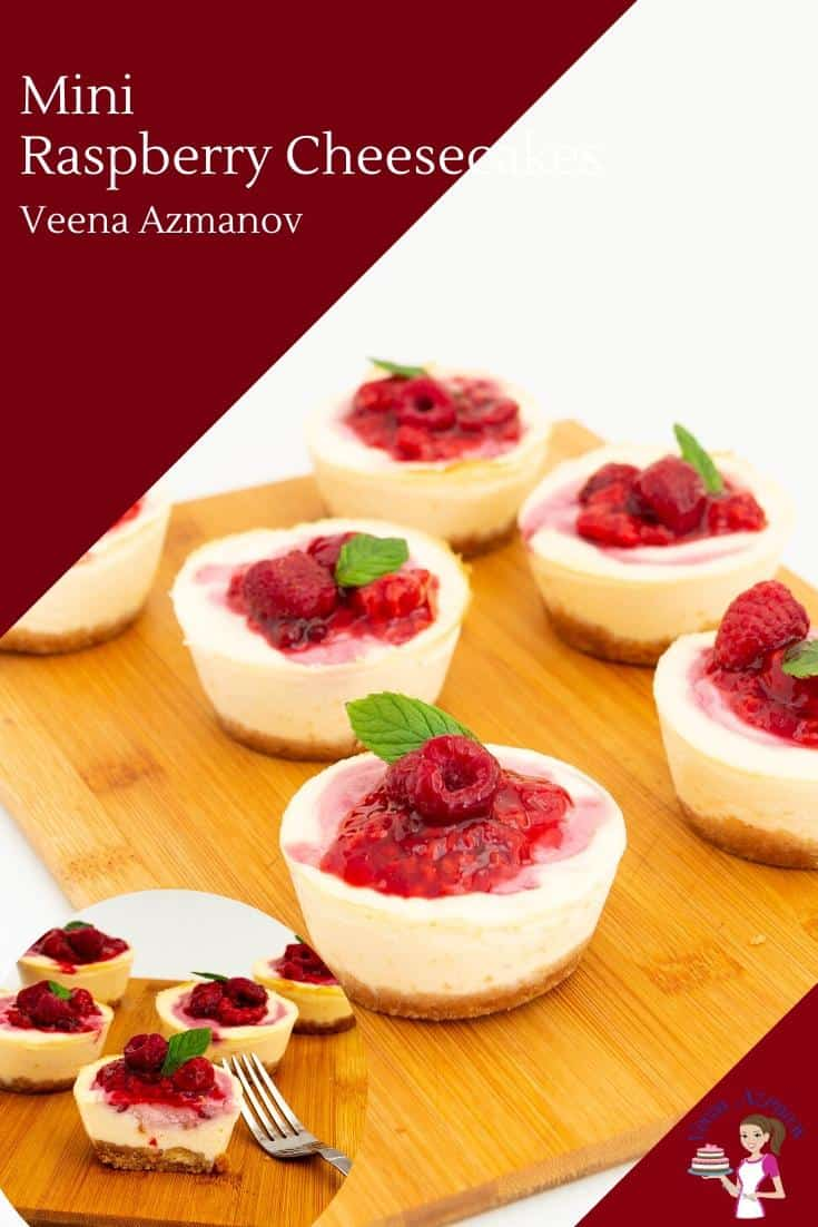How to make baked mini cheesecakes with raspberry filling on top