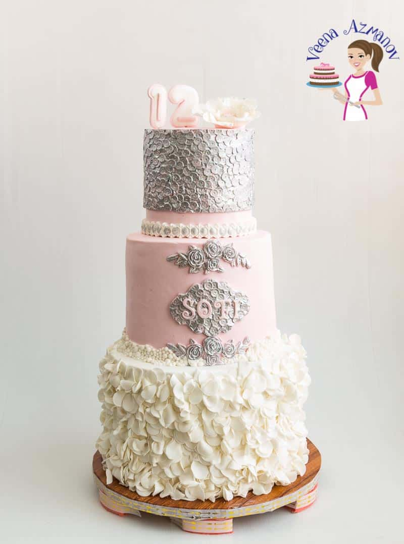 A Pinterest Optimized image for Petal Ruffles Tutorial featuring a Bat Mitzvah Cake made using Petal Ruffles for the bottom tier and sequins for the top tier