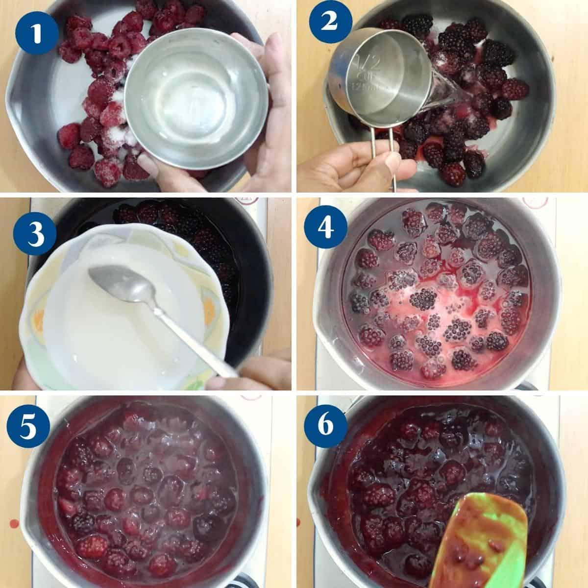 Progress pictures collage for blackberry fruit filling.