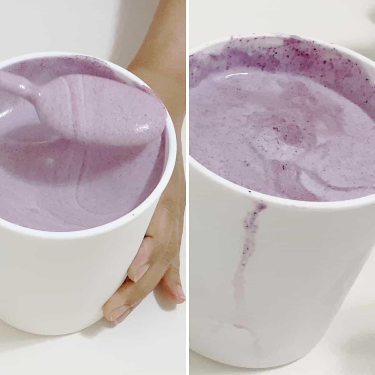 Tubs of blueberry ice cream.