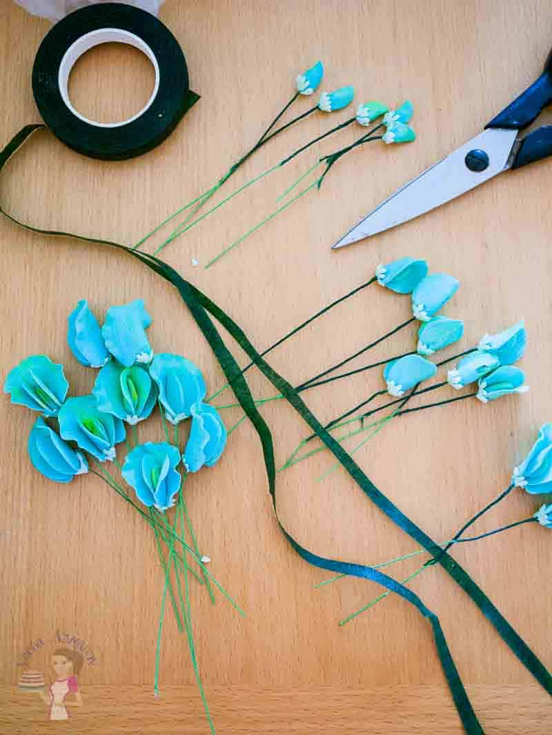 Progress photo of making gum paste flowers.