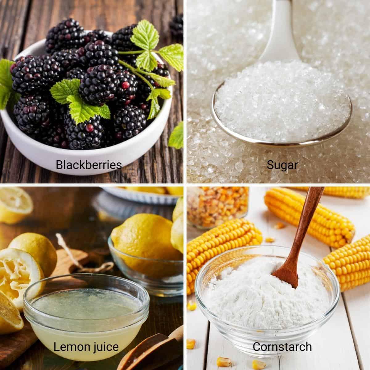 Ingredients shot collage for blackberry fruit fillings.