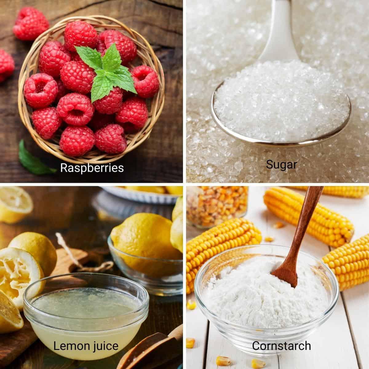Fruit Filling Ingredients Shot Collage - Raspberry filling.
