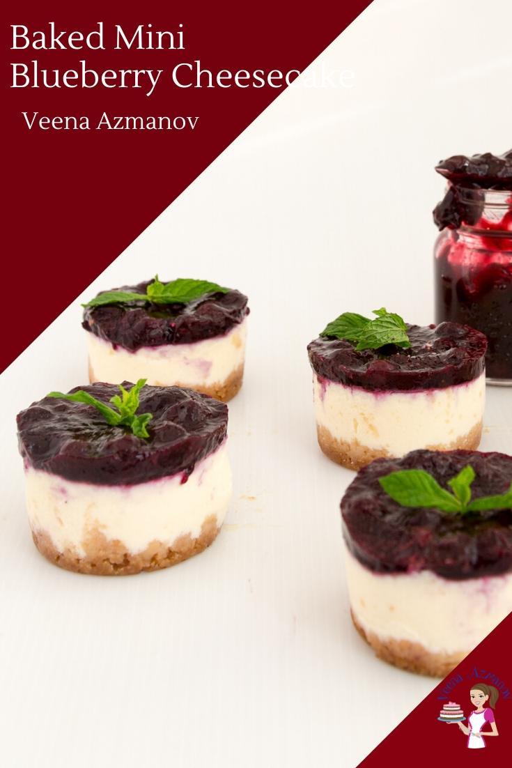 Mini blueberry cheesecakes.