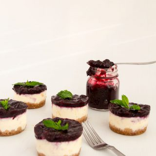 Nothing beats cheesecake for dessert any time of the year. This simple, easy and effortless recipe for mini blueberry cheesecakes is perfect for entertaining or when you need the mini versions of the classic. A custard-basedcheese batter baked to perfection then topped with luxurious blueberry filling is a perfect mini treat at the end of any meal.