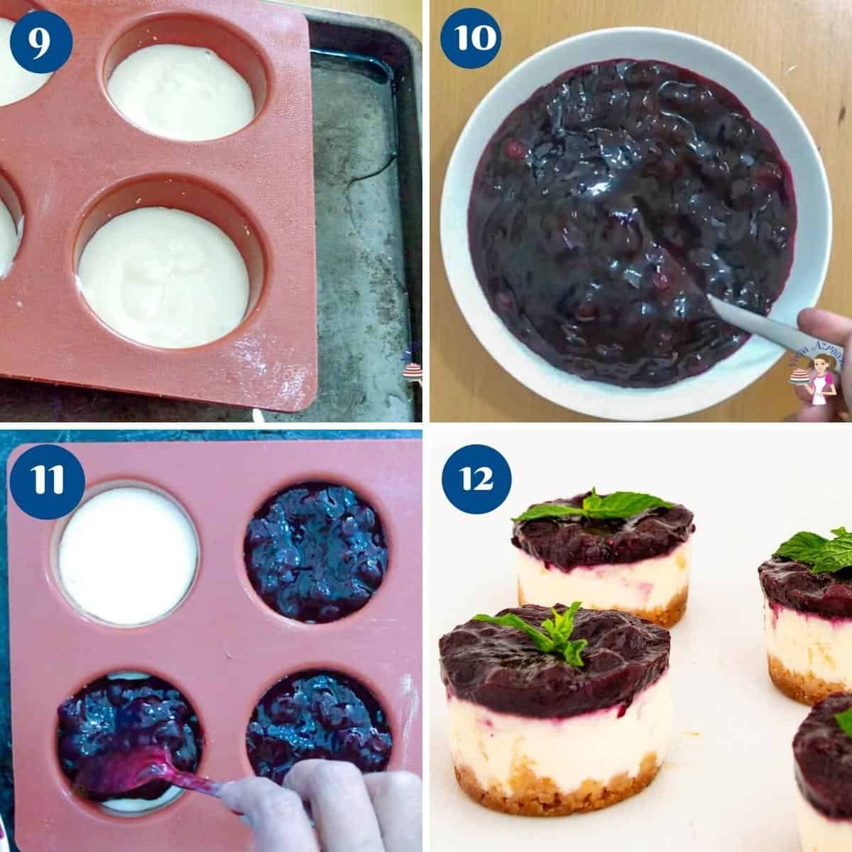 Progress pictures collage topping mini cheesecake with blueberry filling