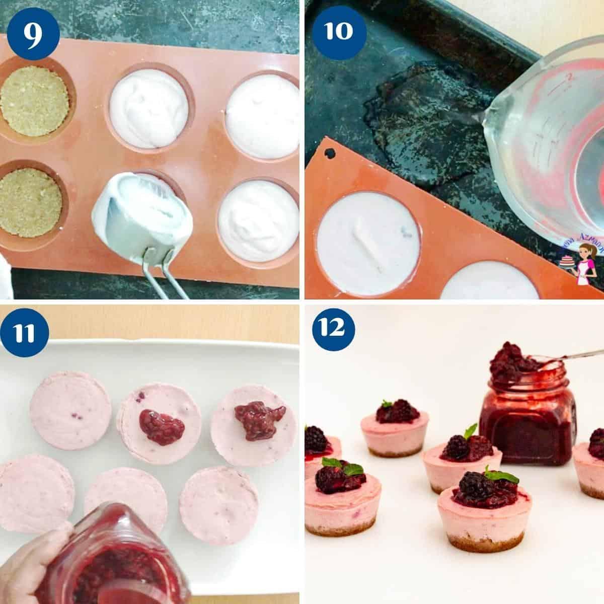 Progress pictures baking mini cheesecakes.