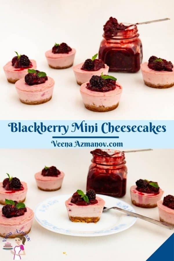 Pinterest image for mini cheesecakes.
