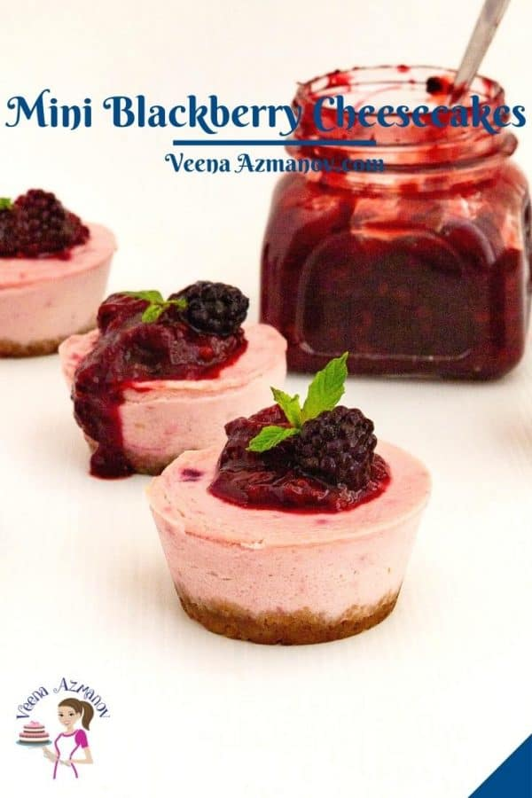 Pinterest image for mini cheesecakes with blackberries.