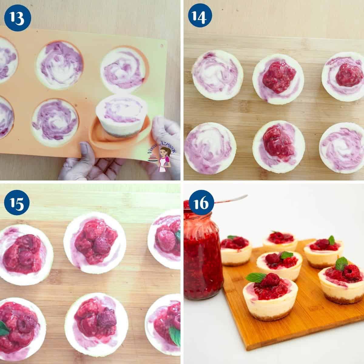 Progress pictures creating raspberry swirl on mini cheesecakes.