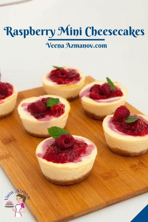 Pinterest image for mini cheesecakes with raspberries.