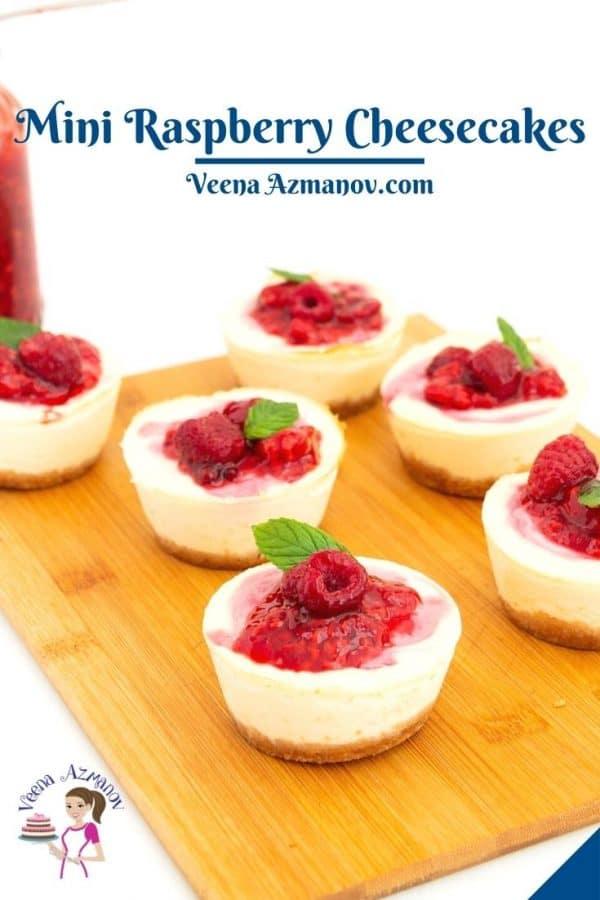 Pinterest image for raspberry mini cheesecakes.