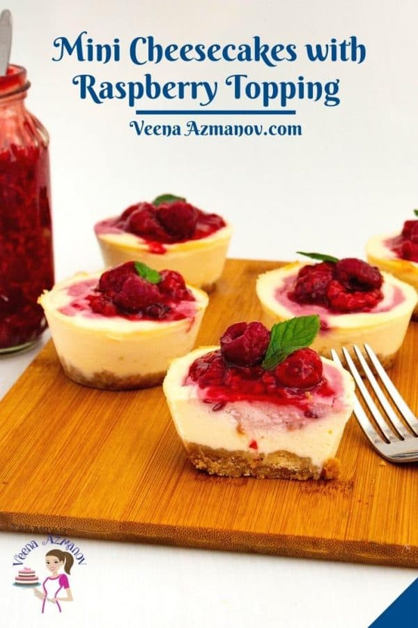 Pinterest image for mini cheesecakes with raspberry filling.