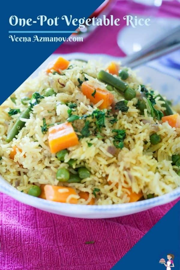 Pinterest image with vegetable rice