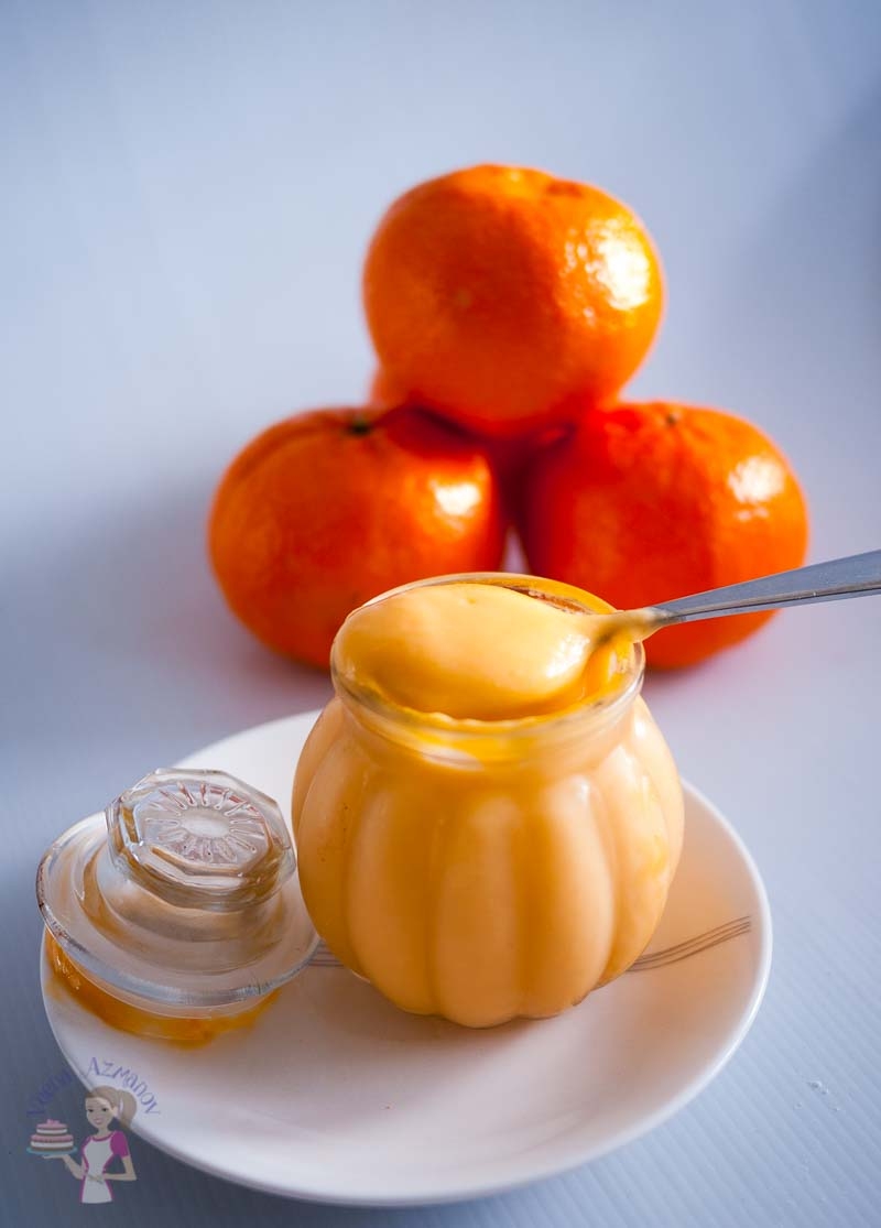 A Pinterest Optimized image for no-fail orange curd recipe made with fresh seasonal oranges. A custard based curd which can be used as filling for cakes, pies and desserts.