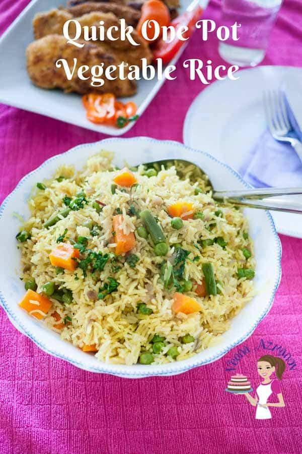 This one pot vegetable rice is kids absolute favorite dish because it's lightly flavored with just the right amount of vegetables. This simple, easy and effortless recipe can be served as a main course on its own for a light meal or as an accompaniment to the main course. The best part is, it takes only 15 minutes to cook so quick one pot meal is a possibility.