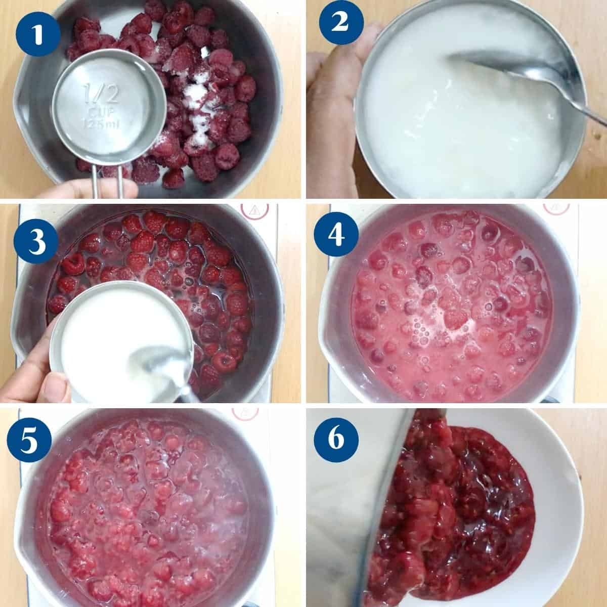 Progress pictures collage making raspberry fruit filling.