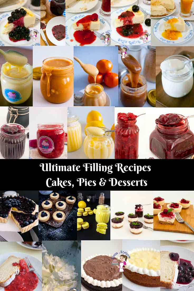 A pinterest optimized image for filling recipes such as strawberry filling, raspberry filling or caramel and much more.