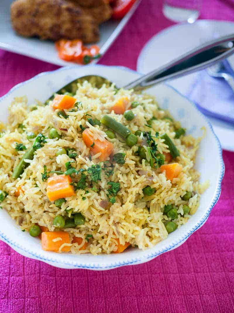 A Pinterest Optimized image fro Quick One Pot Vegetable Rice Recipe, simple easy and gets ready in 15 minutes