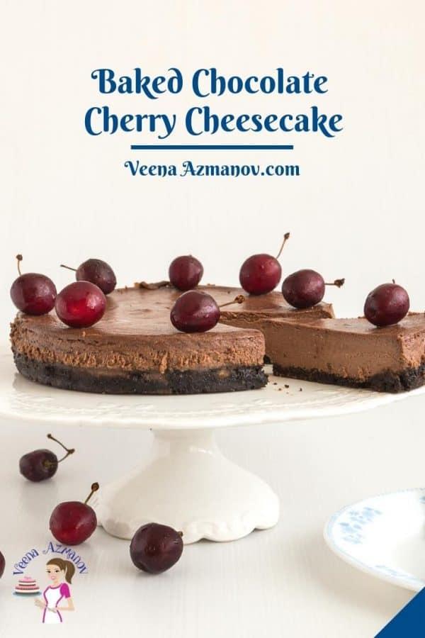Pinterest image for chocolate cherry cheesecake.