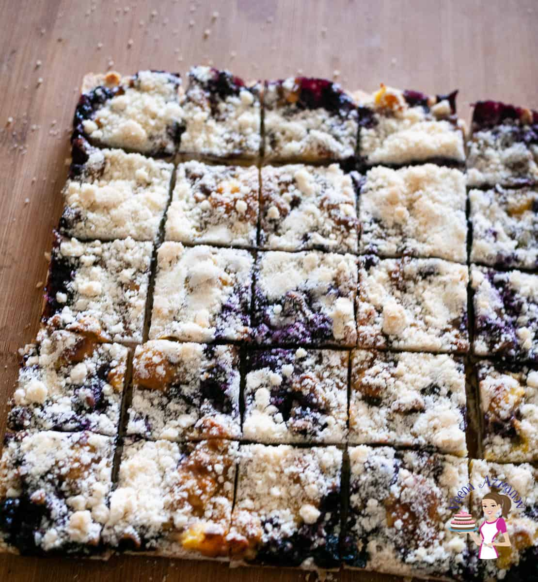 Blueberry bars cut on a wooden board
