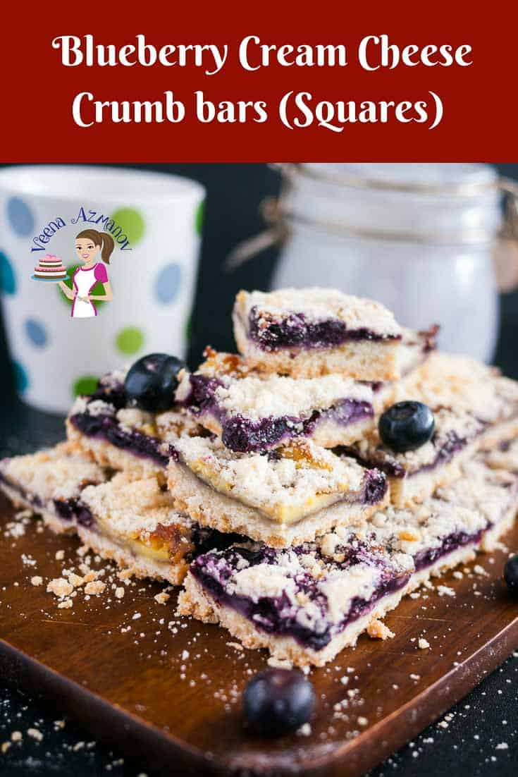 An image optimized for social share for these blueberry cream cheese crumb bars aka blueberry squares made with buttery crust, a cream cheese-based blueberry filling, and a crisp crumb top that just melts in the mouth.