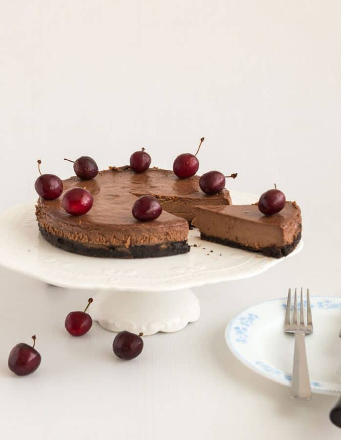An image optimized for social media for this chocolate cherry cheesecake recipe. Baked Cherry Cake Recipe.