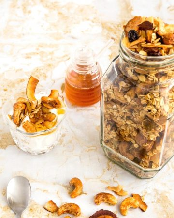 A jar full of granola.