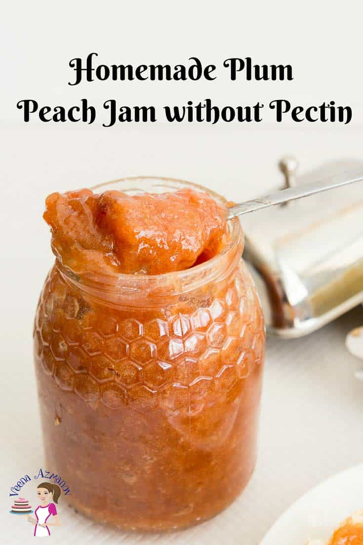 An image optimized for social sharing for this homemade plum peach jam without pectin, made all natural without any artificial flavoring just like our mom made them in the old days.