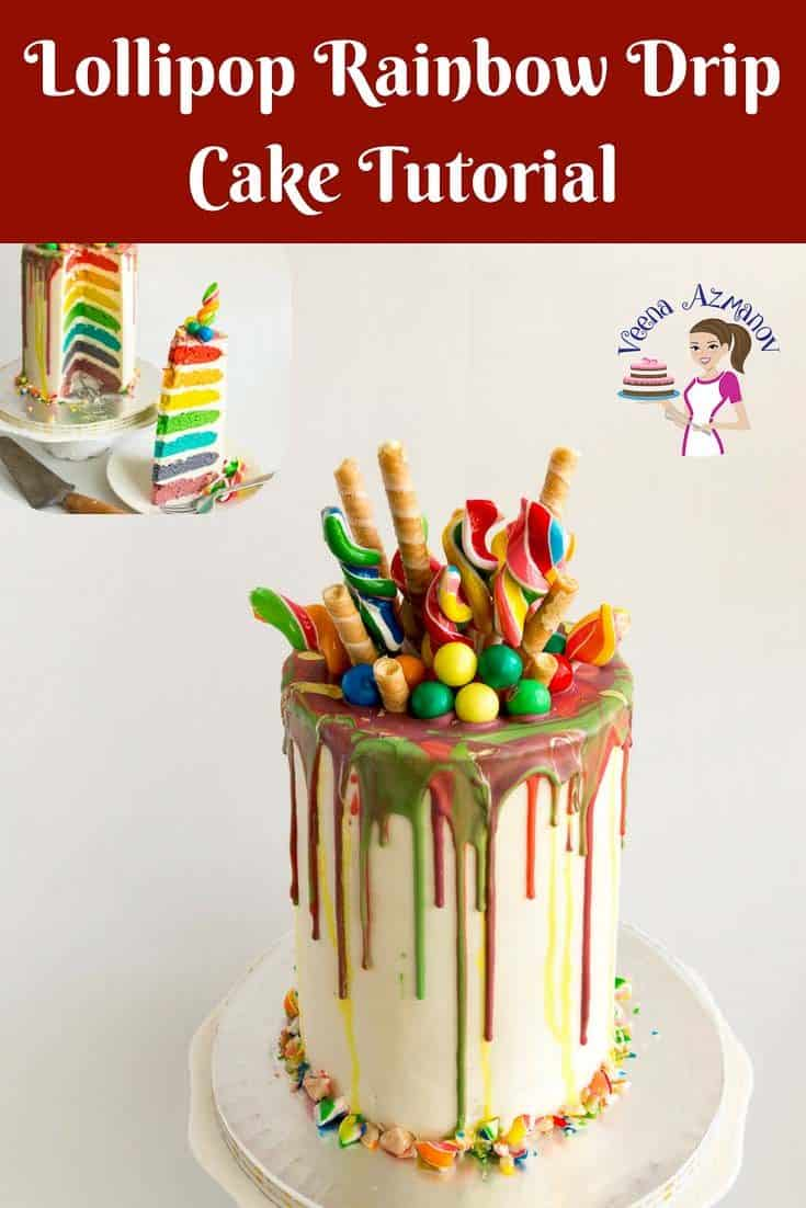 A step by step video tutorial and detailed instructions on how to make a perfect lollipop rainbow drip cake. With a rainbow cake recipe inside and lots of colorful rainbow lollipops on the outside. Perfect kids birthday cake. #lollipop #rainbow #cake #recipe #tutorial #howto #rainbowcake #dripcake