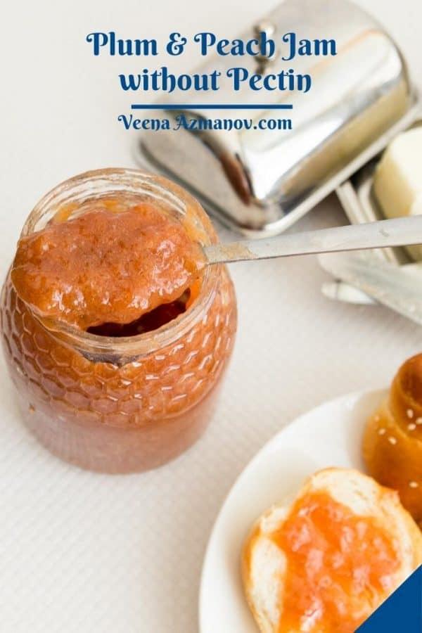 Pinterest image for plum peach jam.