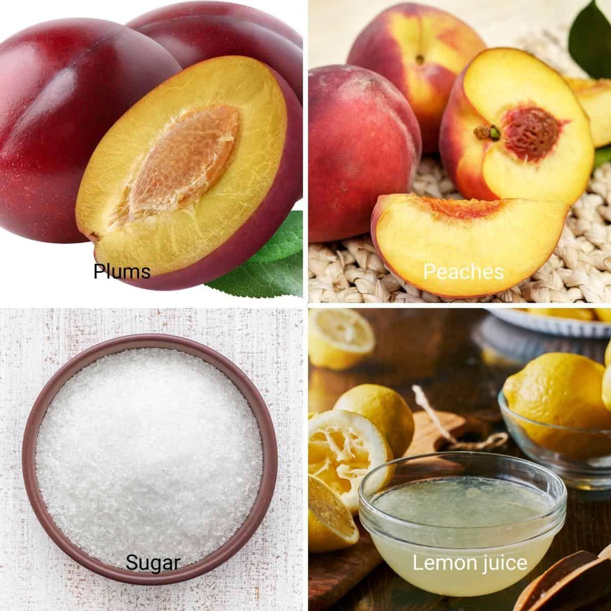 Ingredients shot collage for plum peach jam.