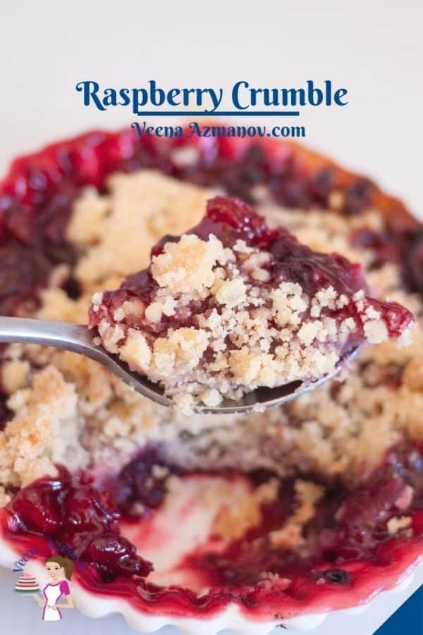 Pinterest image for raspberry fruit crumbles.